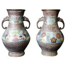 Decorated Matching Pair of Champlevé Old Vases - Bronze - Japan - Meiji Period