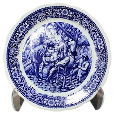Large Boch Freres Blue Plate Depicting Village Gathering