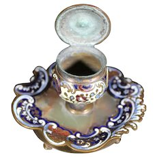 French Inkwell - 19th Century - Bronze Cloisonné Enamels