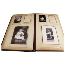 Aged Green Bound Photo Album of Mostly Old Dutch Portraits