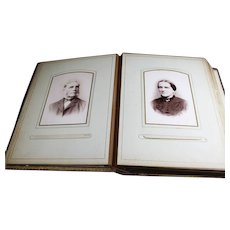 Aged Bound Brown Photo Album of Mostly Old Dutch Portraits