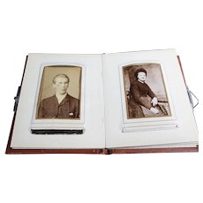 Aged Bound Reddish Brown Photo Album of Mostly Old Dutch Portraits