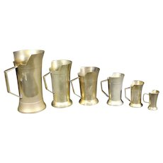 6 Vintage Heavy Brass Measuring Jugs  - 1/2 liter to 1 centiliter