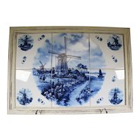 Delft Blue Montage of 6 Ceramic Tiles Montage In A Wooden Frame