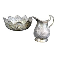 Silver-Plated Indian Bowl and Indian Water Pitcher