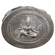 Silver-Plated Indian Decorated Round Box