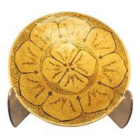 Gold Geometric Design Plate With Orange Edge - - Papier-Mache