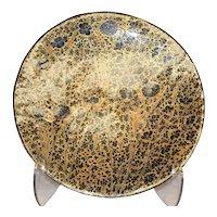 Large Black Gold Floral Design Plate - Papier Mache