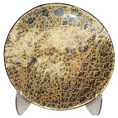 Large Black Gold Floral Design Plate - Papier Mache