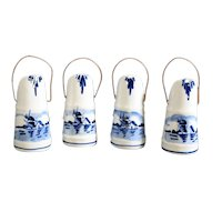 Miniature Ceramic Delft Coal Scuttles - Set of Four