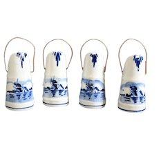 Miniature Ceramic Delft Coal Scuttles - Set of Four
