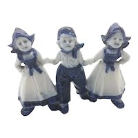 Trio of Dutch Children Ceramic In National Dress