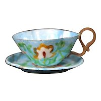 Canton Enameled Chinese Teacup & Saucer