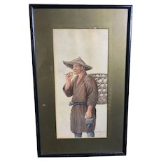 Watercolor of Oyster Farmer by Takashi Nakayama