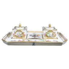 Carl Thieme Potschappel Porcelain Inkwell Set With Magnifying Painting