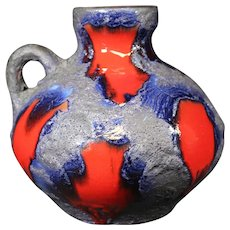 Scheurich Red, Blue & Gray Handled German Vase