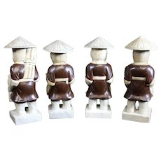 Four Asian Male Figurines Depicting Various Trades
