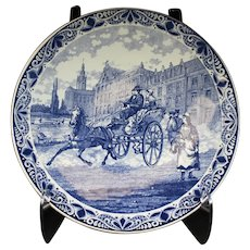 Large Delft Blue Platter With Horse & Carriage Street Pattern
