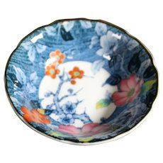 Deep Blue Flora and Fauna Asian Bowl