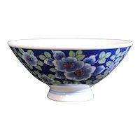 Shaded Blues and Green Flora & Fauna Small Asian Bowl