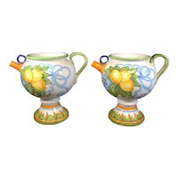 """Pair of Pharmacy Jars From Closed Pharmacy - Inscribed """"AQCITRUS"""" - 21cm Tall"""