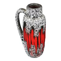 Exceedingly Attractive Scheurich Red and Gray Pitcher Vase