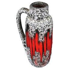 Exceedingly Attractive Scheurich Red and Gray Pitcher Vase