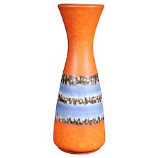 Orange and Blue Elegantly Shaped Bay German Vase