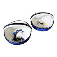 Henriot Quimper - Pair of Looped Handled Ceramic Breton Bowls