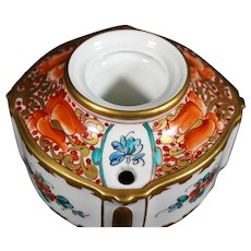 Excellent Fine Hand Painted Limoges Ceramic Inkwell