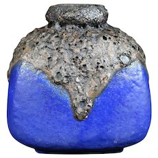 German Roth Bright Blue Fat Lava Vase
