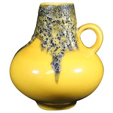 German Roth Bright Yellow Fat Lava Vase