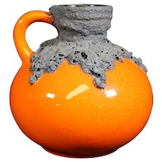 German Roth Bright Orange Red Fat Lava Vase