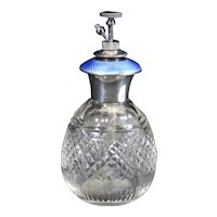 English Art Deco Silver & Crystal Perfume Bottle with Guilloche enamels. - 1925
