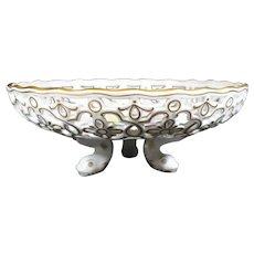 Pristine Meissen Footed Porcelain Splash Bowl On Fish Feet.