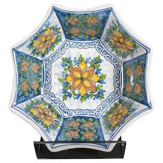 Octagonal Tichelaar Makkum Bowl With Floral Decor