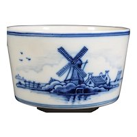 Attractive Decorated in Blue with Windmill  Tichelaar Makkum Elliptical Bowl