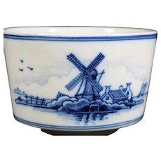 Attractive Decorated in Blue with Windmill  Tichelaar Makkum Elliptical Bowl