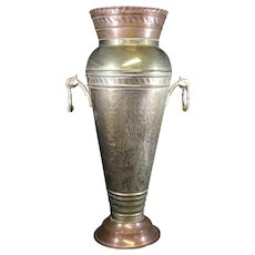 Extremely Large Tapered Brass & Copper Two Handled Vase - Character Personified.