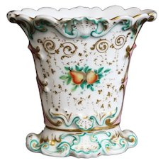 Louis Philippe Porcelain Rocaille Influenced Fluted Oval Vase