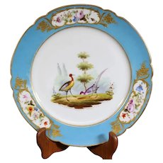 Blue Edged Lavoine Porcelain Plate with Flower and Bird decor