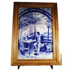 Framed Tile Montage - The Tired Walker - Jan Steen 1660