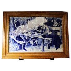 Framed Dutch Tile Montage Depicting Artist Jan Steen