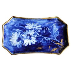 Blue and Gold Limoges Rectangular Floral Dish
