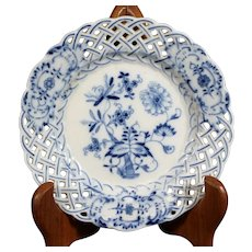 Blue Pierced Meissen Plate Measuring 15cm