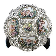 Capodimonte - Beautiful Large Decorative Ajour Plate Dish And Relief Cartouches.