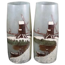 Pair of Rare JEM Enameled Glass Vases - School of Theodore Legras - 1920's