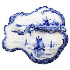 Franz Anton Mehlem Leaf Divided Cobalt Blue Dish