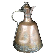 Tall Handled Copper Lidded Jug - 18th Century