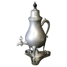 Dutch Vintage Pewter Tapped Jug With Chafing Dish